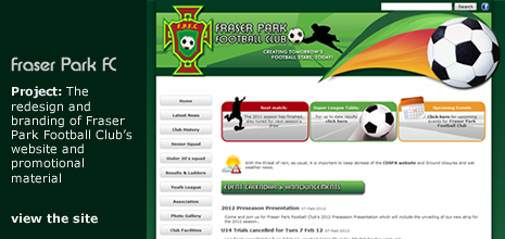 view Patmac Media's work on the Fraser Park Football Club website