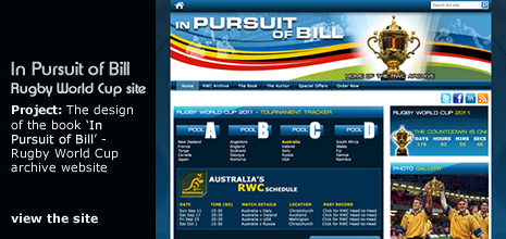 view Patmac Media's work on the 'In Pursuit Of Bill - Home of the Rugby World Cup archive' website